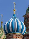 Moscow, Russia, on July 2, 2010. St. Basil's Cathedral on Red Square, one of numerous domes — Stock Photo
