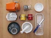 Multi-colored ceramic kitchen ware, top view — Fotografia Stock