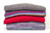 Pile of cashmere products on a counter of shop — ストック写真