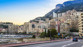Principality of Monaco, France, on October 16, 2012. A view of the residential areas on a slope of mountains at sunset — Stock Photo