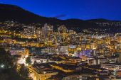 Principality of Monaco, France, on October 16, 2012. A night view of the port and residential areas on a slope of mountains — Stock Photo