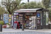 Nice, France, on March 14, 2015. A newsstand on the city street — Zdjęcie stockowe