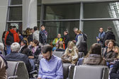 Moscow, Russia, on March 6, 2015. People expect boarding in the plane in the terminal D of the international airport Sheremetyevo — Stock Photo