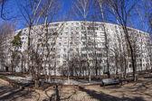 Puschkino, Russland, am 17. März 2015. City-Frühling-Landschaft, Fischaugen Ansicht. — Stockfoto
