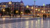 Nice, France, on March 13, 2015. The high-speed tram goes on Massen Square. Massen Square is central in the city — Stock Photo