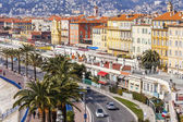Nice, France, on March 14, 2015. Typical urban view. English promenade, one of the most beautiful embankments of the world — Stock Photo