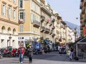 Nice, France, on March 13, 2015. Typical city landscape in the spring afternoon — Stock Photo