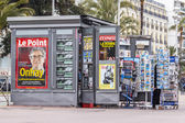 Nice, France, on March 14, 2015. A newsstand on the city street — Stok fotoğraf