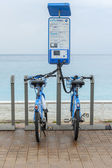Nice, France, on March 14, 2015. City point of a bicycle rental of Veloblue — Stock Photo