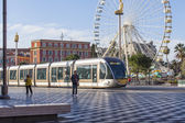 Nice, France, on March 7, 2015. City landscape. Скоростнй the tram goes on Massen Square — Stock Photo