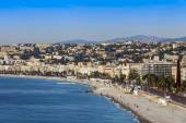 Nice, France, on March 7, 2015. The top view on a beach and Promenade des Anglais. — Stock Photo
