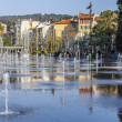 Nice, France, on March 7, 2015. New public park - Promenade du Paillon. Flat fountain — Stock Photo #69449847