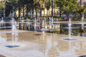 Nice, France, on March 7, 2015. New public park - Promenade du Paillon. Flat fountain — Stock Photo