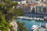 Nice, France, on March 7, 2015. The top view on the city port of Nice. — Stock Photo