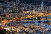 Monaco, France, on March 8, 2015. The top view on the port and the residential area at night — Stock Photo