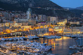 Monaco, France, on March 8, 2015. The top view on the port and the residential area at night — Foto de Stock