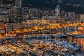 Monaco, France, on March 8, 2015. The top view on the port and the residential area at night — Stockfoto