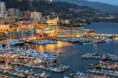 Monte-Carlo, Monaco, on March 8, 2015. The top view on the port and the residential area at night — Stock Photo