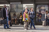 Nice, France, on March 7, 2015. Passengers expect the bus at a stop — Stock Photo