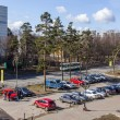 Pushkino, Russia, on April 10, 2015. A view from the window on the street and a parking of cars — Stock Photo #70877225