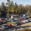 Pushkino, Russia, on April 10, 2015. A view from the window on the street and a parking of cars — Stock Photo #70877233