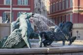 Nice, France, on March 9, 2015. A fragment of the sculpture decorating the fountain on Victor Massen Square — Stock Photo