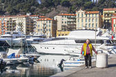 Nice, France, on March 10, 2015. Embankment in city port — Stock Photo