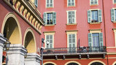 Nice, France, on March 10, 2015. Architectural details of typical city buildings in historical part of the city — Stock Photo
