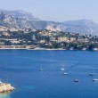 Nice, France, on March 10, 2015. The top view on a bay and the picturesque coast in the suburbs Vilfransh. — Stock Photo #72800857