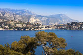 Nice, France, on March 10, 2015. The top view on a bay and the picturesque coast in the suburbs Vilfransh. — Stock Photo