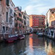 VENICE, ITALY - on APRIL 29, 2015. Typical urban view in the evening. Street canal and ancient buildings ashore — Stock Photo #73211083