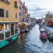 VENICE, ITALY - on APRIL 29, 2015. Typical urban view in the evening. Street canal and ancient buildings ashore — Stock Photo #73211477