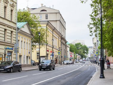 MOSCOW, RUSSIA, on MAY 24, 2015. Pokrovskaya Street. Summer day before a rain. Pokrovskaya Street is historical sight of the center of Moscow and one of shopping streets