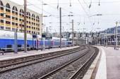 Nice, France, on March 10, 2015. The train costs at the platform of the city station — Стоковое фото
