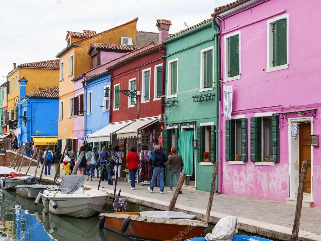 Colorful burano italy burano tourism - Venice Italy On April 30 2015 Burano Island Typical Street Canal And Multi Colored Houses Of Locals Burano The Island One Of Attractive Tourist
