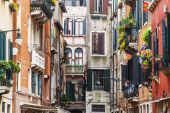 VENICE, ITALY - on APRIL 29, 2015. An architectural fragment of the ancient building on the canal embankment. — Stock Photo