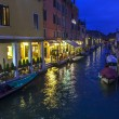VENICE, ITALY - on MAY 2, 2015. Evening urban view. The canal and the embankment, lamps and their reflection in water — Stock Photo #76920813
