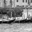 VENICE, ITALY - on MAY 3, 2015. City landscape early in the morning. Gondolas are moored at the coast of the Grand channel (Canal Grande). — Stock Photo #77671552