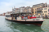 VENICE, ITALY - on MAY 3, 2015. Vaporetto with passengers floats on the Grand channel (Canal Grande). Vaporetto is a main type of public transport in Venice — Stock Photo