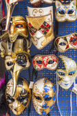 Typical Venetian carnival masks on a show-window of gift shop — Stock Photo