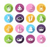 Wellness icons in flat design style — Stok Vektör