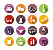 Ladies Shopping Icons — Stock Vector