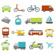 Transport Icons In Flat Design Style — Stock Vector #66640665
