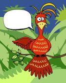 Cute cartoon bird with a speech bubble — Stock Vector