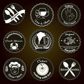 Insignias de menú restaurante retro — Vector de stock