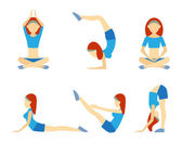 Yoga girl in six positions — Stock Vector