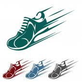 Speeding running shoe icons — Stock Vector