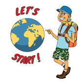 Young backpacker ready to journey around the globe — Stock Vector