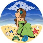 Beautiful woman dreaming of love — Stock Vector