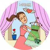 Young woman in love dressing fro a date — Stock Vector